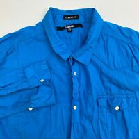 Carbon Pearl Snap Up Shirt Men's 2XL XXL Long Sleeve Blue Classic Fit Casual
