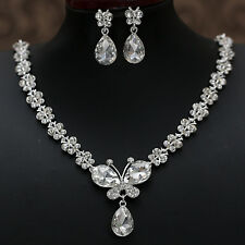 BRIDAL WEDDING PARTY JEWELRY BUTTERFLY CRYSTAL DIAMANTE NECKLACE EARRINGS SET