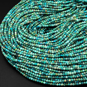 Natural Turquoise 2mm Smooth Round Beads Real Genuine Natural Turquoise Gemstone