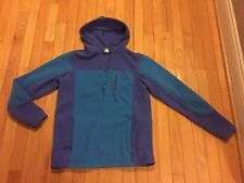 Girls Lands' End Aqua and Purple Zip Up Fleece Hoodie Jacket Size Large