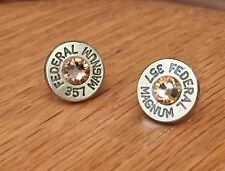Federal 357 Magnum Brass Bullet Casing Stud Earrings With Topaz Crystals