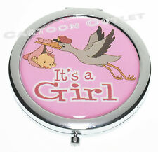 12 pcs BABY SHOWER PARTY FAVORS COMPACT MIRROR STORK RECUERDOS IT'S A GIRL PINK
