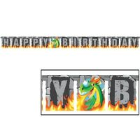 JOINTED DRAGON BIRTHDAY BANNER HANGING PARTY DECORATION MEDIEVAL FAIRYTALE