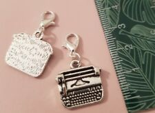 1 x Typewriter Old School Vintage Writer Poem Office Keys Plated Clip On Charm