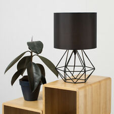 Black Bedside Table Lamp With Shade Metal Basket Cage Living Room Lighting