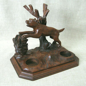 Folk Art : Hand-carved, Wooden PIPE RACK with Guard Dog & Tree Stump  /  c.1945