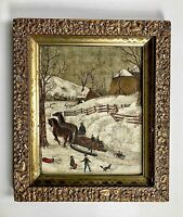 Mid 19th Century American Folk Art Painting On Board Winter Scene