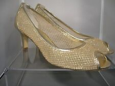 """Adrianna Papell Boutique Jessica Gold Mesh Leather Shoes; SZ 10, 3"""" Heel"""