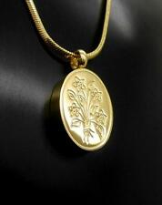 Gold Flourishing Flowers Memorial Keepsake Cremation Urn Pendant Jewellery NIB