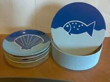 OCEAN Salad Plates BIA Cordon Bleu 4 Piece Set Blue Fish & Seashells NIB 6 3/4""