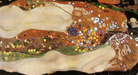 "Nice Oil painting Gustav Klimt - Water Serpents girls portraits canvas 36"""