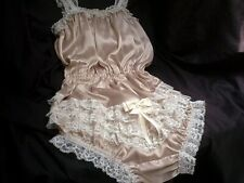 SISSY GOLD SATIN ALL IN FRILLY LACE BUM PANTY BODY ROMPER PLAY SUIT CAMI KNICKS