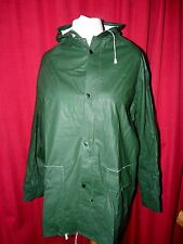 mans thick pvc raincoat cotton backed with hood squeak swishy 52 chest LOOK