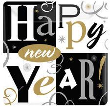8X Fiesta de Año Nuevo Bloques Grande 25.4cm Banquete Platos Papel Negro Plata
