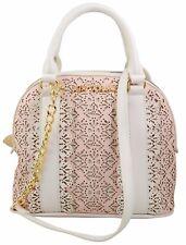 "Women's Chic Satchel Handbag Frills Dome Textile Lining 26"" Shoulder Drop New"