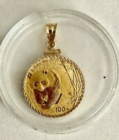 WOW__2001-1/4 OZ .999 FINE GOLD PANDA COIN IN  SOLID 14K YELLOW GOLD BEZEL