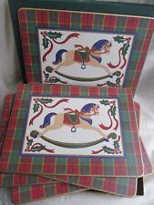 Cloverleaf Boxed Christmas Rocking Horse Cork Backed Placemat Set