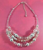 Beaded Necklace Three Strand Pink Beads Silver Tone