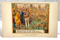 ANTIQUE PLAN OF PARIS IN THE FIFTEENTH CENTURY CITY VILLAGE GARDEN DONKEY PRINT