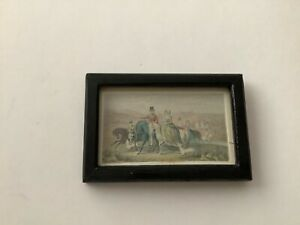 Miniature dolls house wooden picture frame with hunting scene