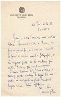 Autografo dello scrittore Francesco Flora (Colle Sannita, 1891 - Bologna, 1962)