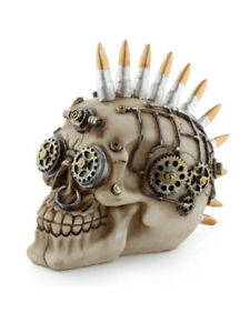 Steampunk Style Skull with Bullet Mohican