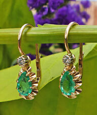 vintage Inspired 14ct Yellow Gold with Diamond and Emerald Drop Earrings
