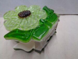 Green napkin holder LUCITE 1971 gingham print MOD kitchen groovy flower chunky