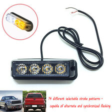 USA White/Amber 4 LED Strobe Light Side Marker Emergency Warning Flash Pods