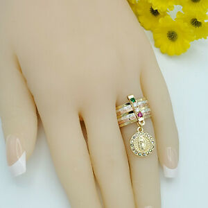 Multi Tone Gold Plated Our Lady of Guadalupe 7 Days Ring Semanario Oro Laminado