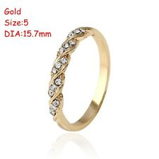 Women Thin Twisted Rhinestone Ring Diamond Size5-10 Wedding Engagement Jewelry