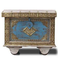 Truhe Kiste Box Schatztruhe Indien Holz Massiv Shabby Chic Antik 70cm Blau Grau