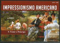 SAO TOME 2015 AMERICAN IMPRESSIONIST  SOUVENIR SHEET MINT NH