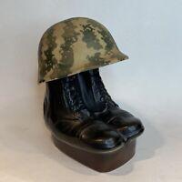 1975 Jim Beam Army Camo Helmet + Combat Boots Whiskey Decanter Regal China Empty