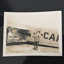 Photo Ancienne Avion Trimoteur Piloté Par Lindbergh Chutes Niagara Daté 1929