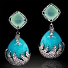 Ear Water Drop Dangle Earrings Jewelry 1Pcs Women 925 Silver Turquoise Crystal