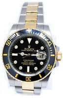 Rolex Submariner Date 18k Gold Steel Ceramic Diamond Dial Watch + Box V 116613