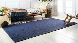 Rug 100% Natural Jute Braided Blue Reversible 2x3 Ft Rug Modern Living Area Rug