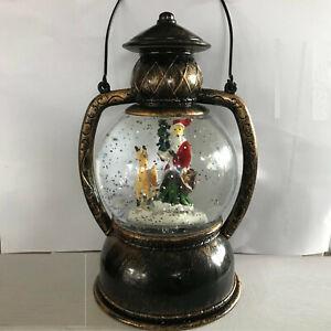 Santa Reindeer Christmas Light Up Snow Globe Indoor Vintage Lantern Decoration