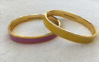 2 Banana Republic Oval Bangle Bracelets Goldtone Pink Yellow W Clasp