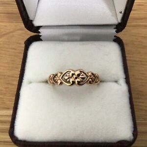 Gold Ring Decorated with Hearts and Flowers Marked 375. Size M 52/ 11.5mm #563