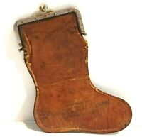 Antique Farmers State Bank Advertising Leather Coin Purse Boot Shaped Snap Close
