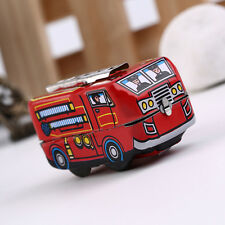 Retro Classic Firefighter Fire Engine Truck Clockwork Wind Up Tin Toys GA