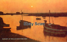 North Norfolk Postcard - Wells next the Sea - Sunset over Harbour - Salmon Card