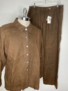 NEW Chico's Linen Suit Sz 3 XL  Brown Button Down Shirt Pants Set Classic