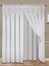 "Luxury Faux Jacquard White Curtain / Drape Set + attached Valance 120"" x 84"""