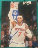 CARMELO ANTHONY SIGNED 8X10 OKC THUNDER NEW YORK KNICKS W/COA+PROOF WOW RARE
