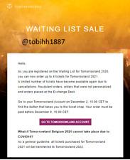Tomorrowland Ticket 2021, Waiting list