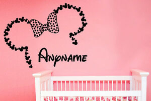 Minnie Mouse Custom Personalised Nursery Childrens Bedroom Decal Wall Sticker