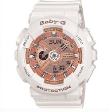 New Women Casio G-Shock Baby-G White Rose Gold Watch Analog Digital Resin Band